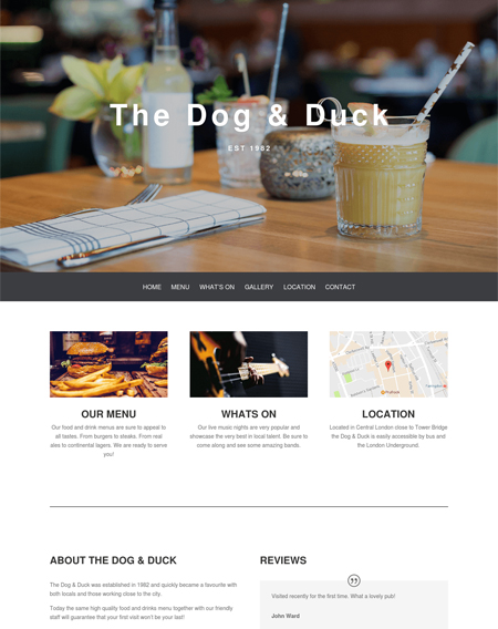 Dog and Duck Pub Website