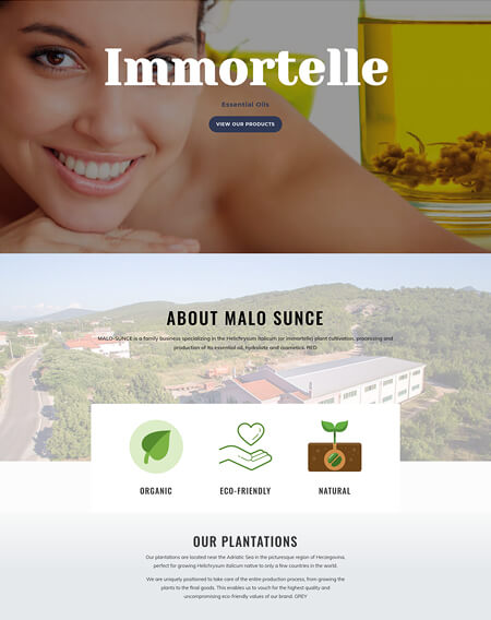 Web design for Immortelle Oils