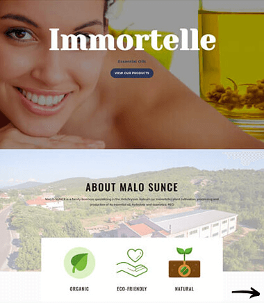 Immortelle Oil Site by Virtualeap Web Design